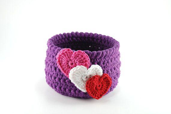 Crochet basket - Valentine's Day gift - purple bowl by TheKnottyNeedle - $18.00 - #valentinesday #crochetbowl #purple #hearts