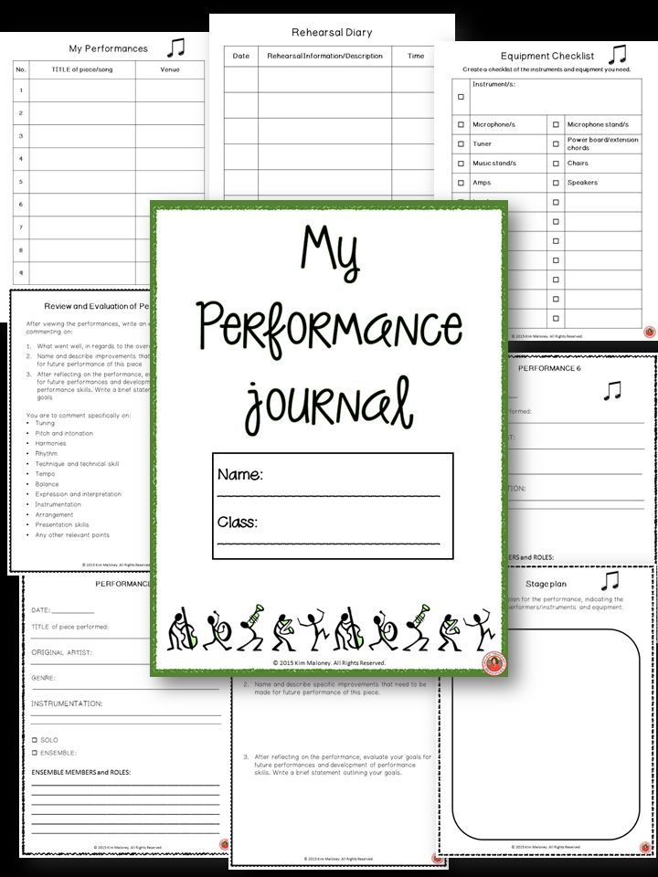 Music Performance Journal for middle\/high school students! Great - self evaluations