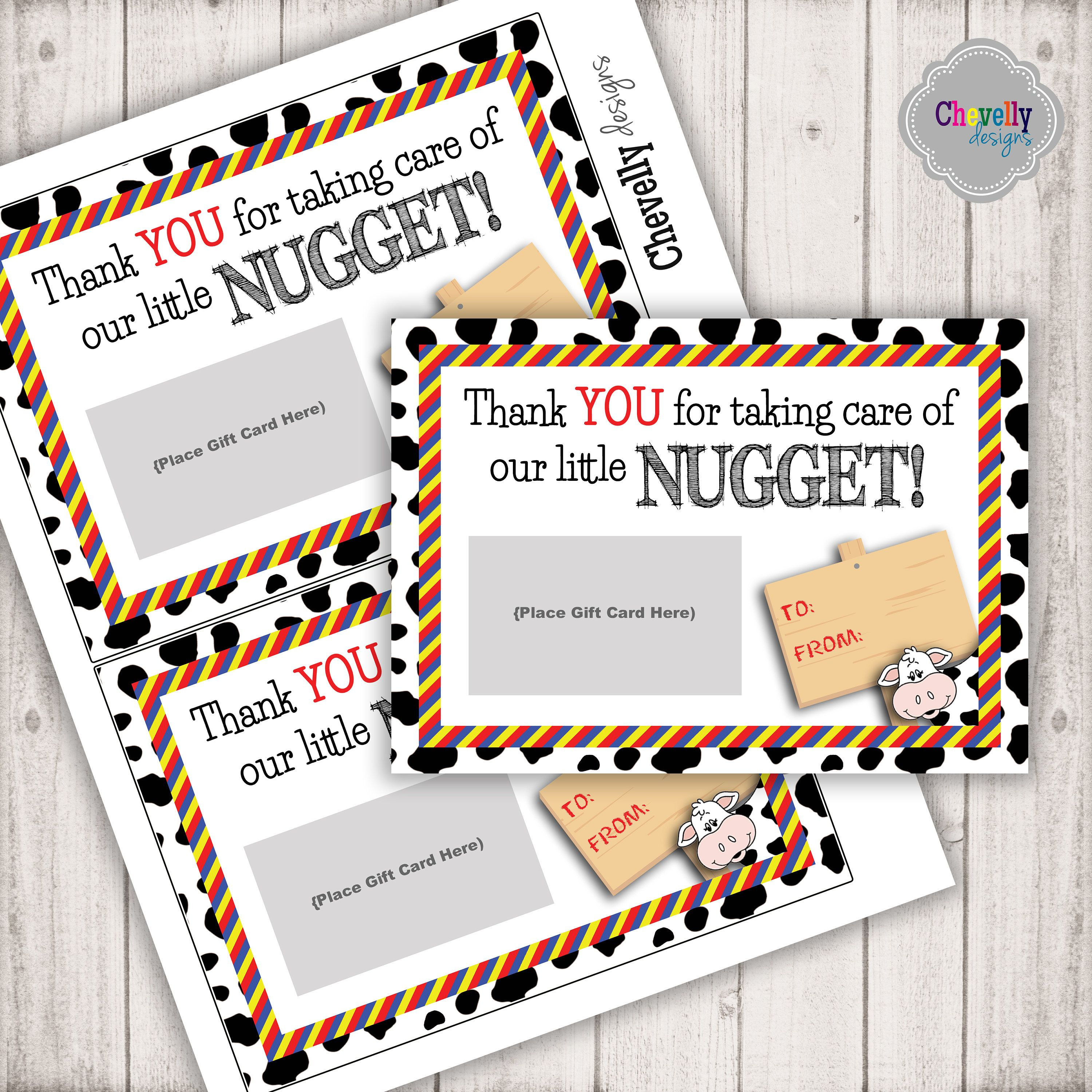 Instant Download Chickfila Gift Card Printable Chicken Nugget