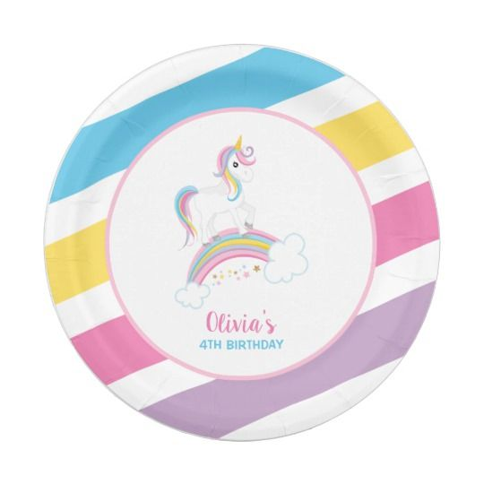 Cute magical unicorn rainbow birthday party paper plates. Personalize with your child\u0027s name!  sc 1 st  Pinterest & Magical Rainbow Unicorn Birthday Paper Plate | Unicorn birthday ...