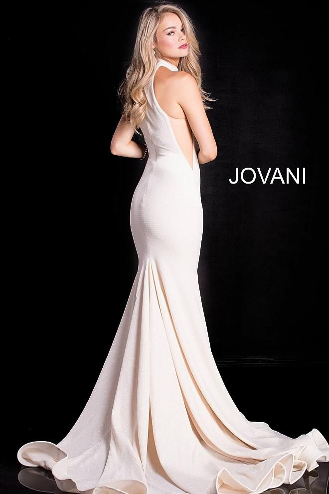 7628b3bfd65 Long halter glitter jersey mermaid gown