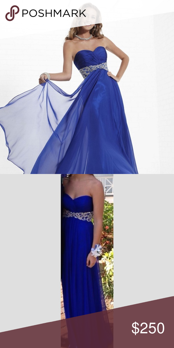 Royal Blue Tiffany's Prom, Formal, Long, Dress Tiffany Designs. Spring 2013. Style 16744. Size 4.* *Altered around the waist to fit more like a size 0 and also the length was altered. I'm 5'4 and wore 4 inch heels and it fit perfectly.   Inquire about specific measurements by comment. Tiffany Designs Dresses Prom