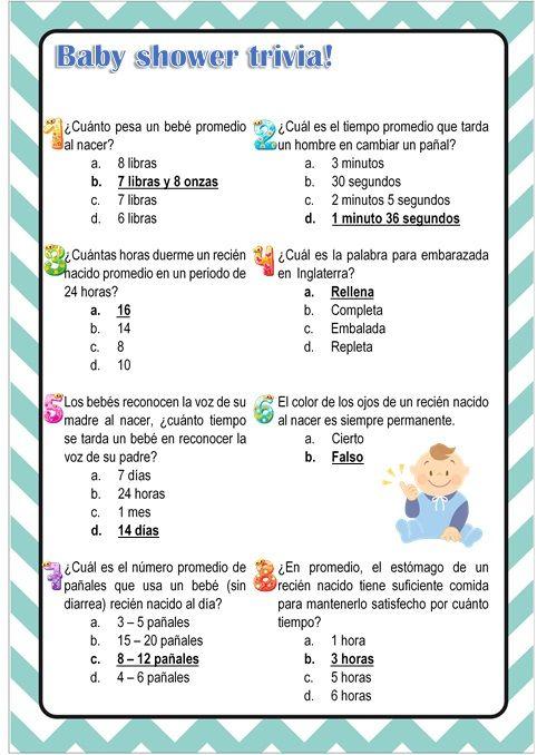 Baby Shower Trivia Con Respuestas Juegos De Fiesta Shower Baby Shower Unisex Actividades Para Baby Shower