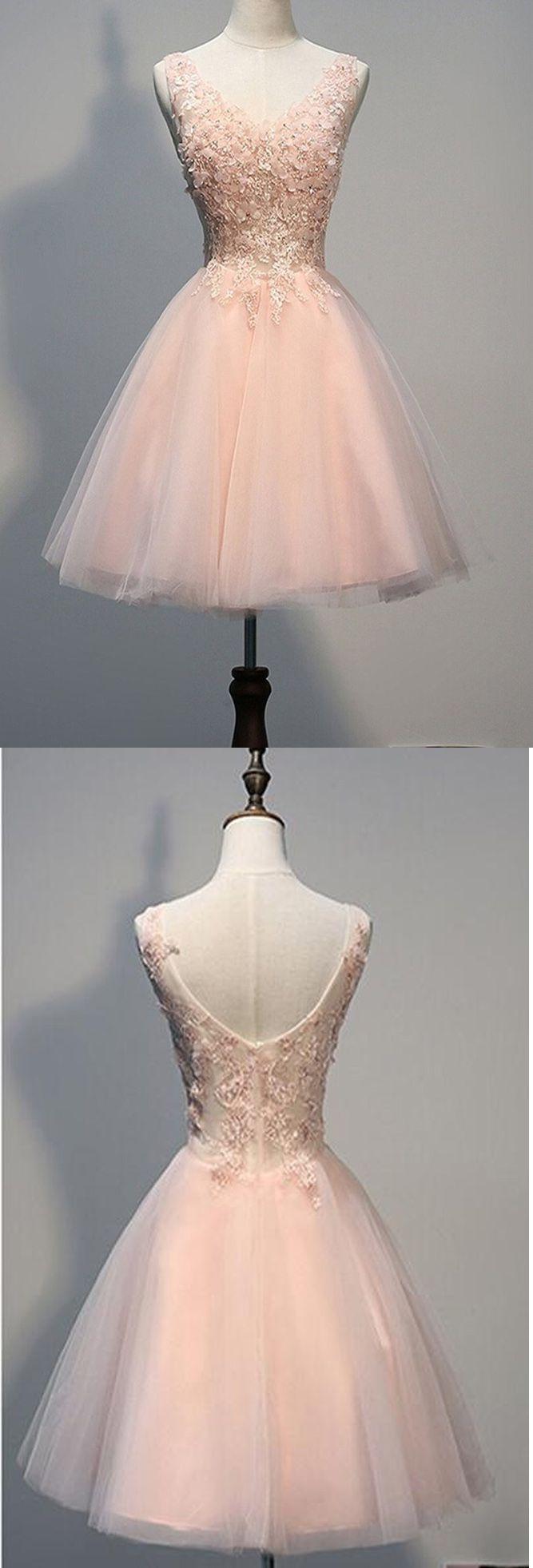 Pink tulle short prom dress for teensshortmini prom dressplus