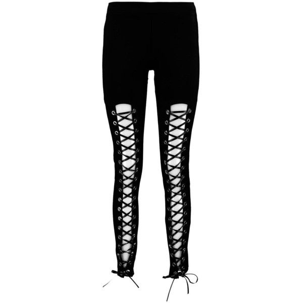 Boohoo Betsy Premium Eyelet Lace Up Front Leggings (355 SEK) ❤ liked on Polyvore featuring pants, leggings, sports trousers, wide leg trousers, palazzo trousers, elastic waist pants and basic t shirt