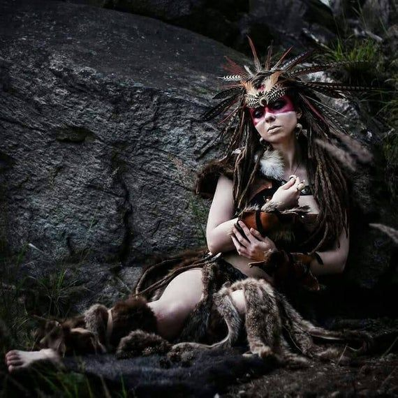 Tops With Fur Cuffs: Shaman Costume, Leather Top, Fur Skirt, Leather Cuffs