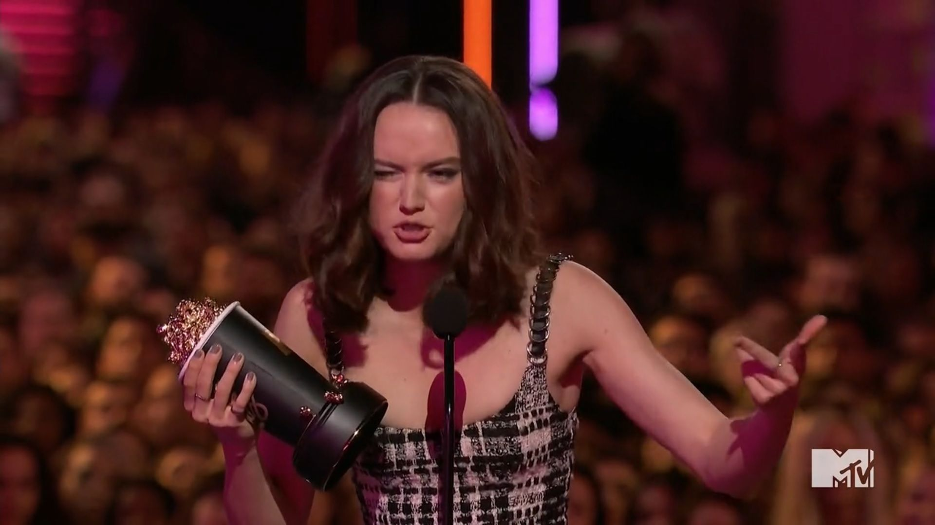 Daisy Ridley not sure if she can trust the fart mid speech.