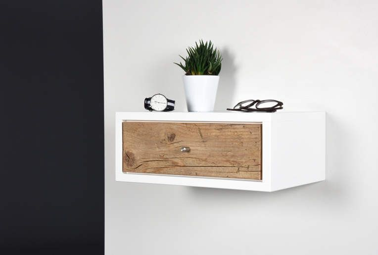 Side Table / Console / Bedside / Floating Small White Side Table With  Drawer / Floating Bedside Table / Nightstand Suspended With Drawer Bedside  / Console ...