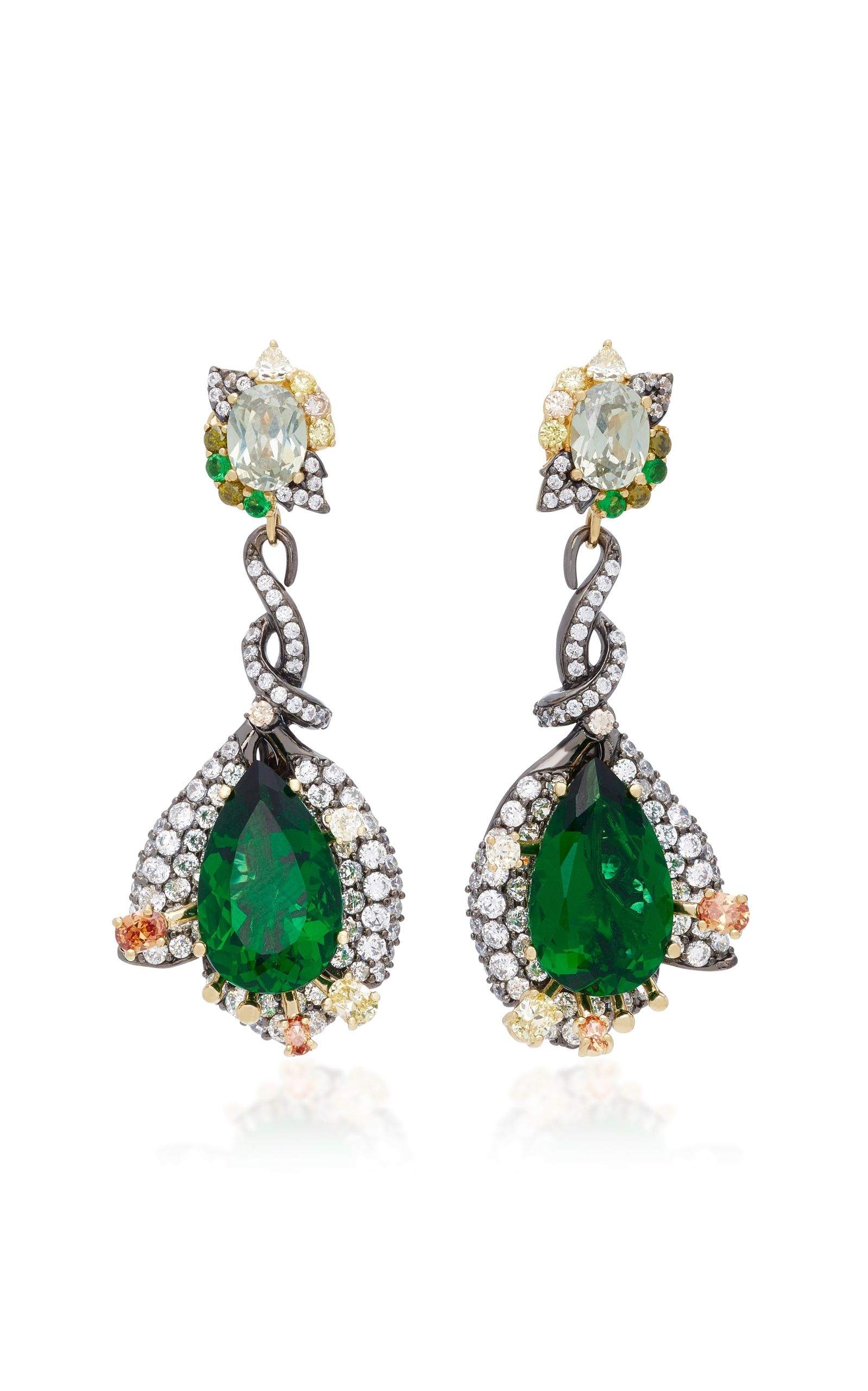 trillion emerald earrings pear petite jewellery with kate mccoy front products and shape diamond clusters