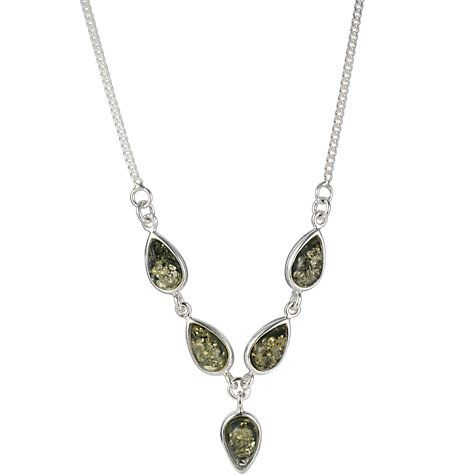 """This sterling silver necklace from Goldmajor is set with five teeardrop shaped pieces of green amber in an elegant Y-formation. The necklace is supplied with a 46cm / 18"""" chain."""