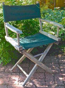 Vintage Ancienne chaise de jardin pliante en bois et toile | Jardins ...