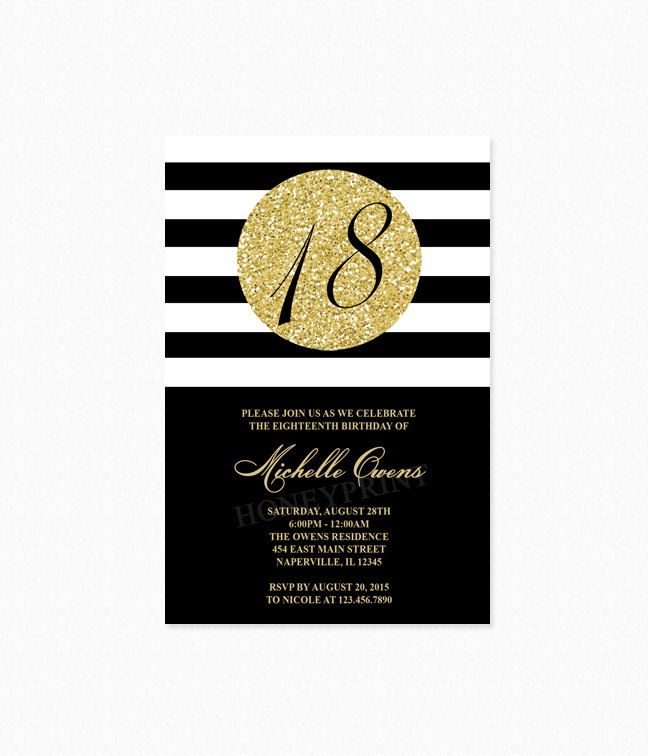 Gold 18th Birthday Party Invitation, Black and White Stripes ...
