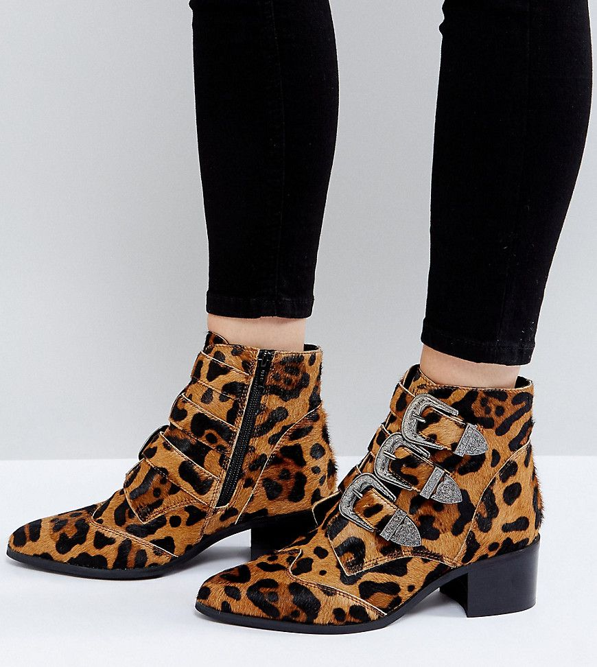Buckle ankle boots, Leopard ankle boots