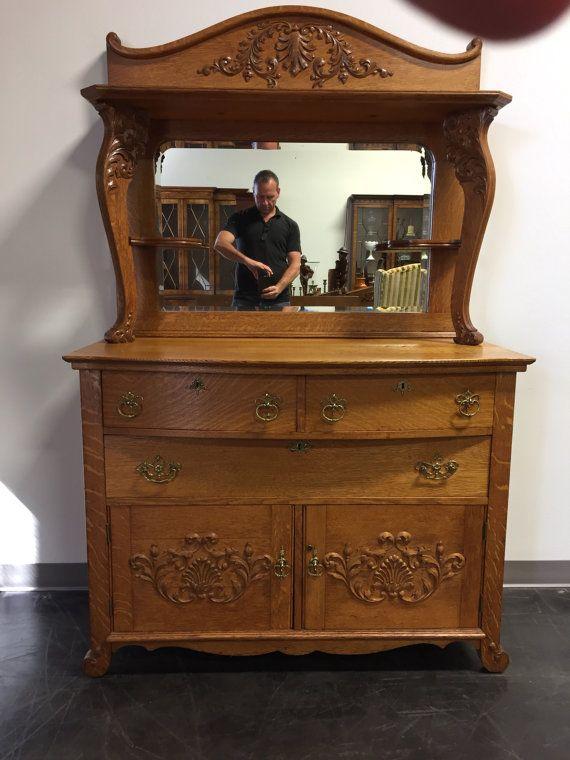 Antique Victorian Quartersawn Tiger Oak Sideboard Buffet