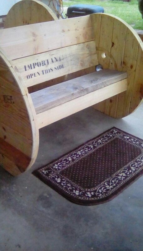 Wire spool bench created by man 2 spools pinterest for Wooden reel furniture