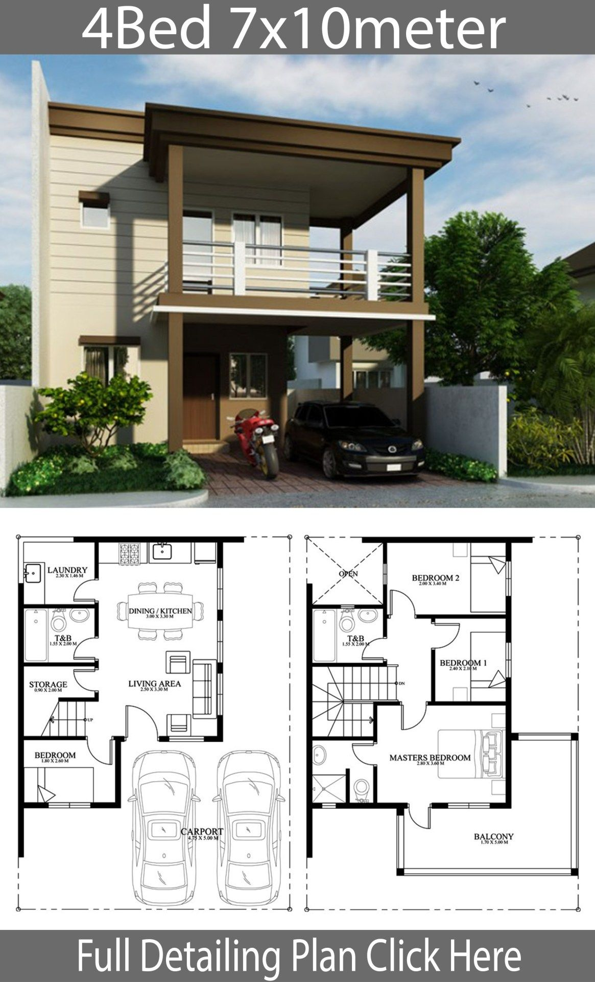 Home Design Plan 7x10m With 4 Bedrooms Home Design With Plansearch Home Design Plans House Designs Exterior Home Building Design