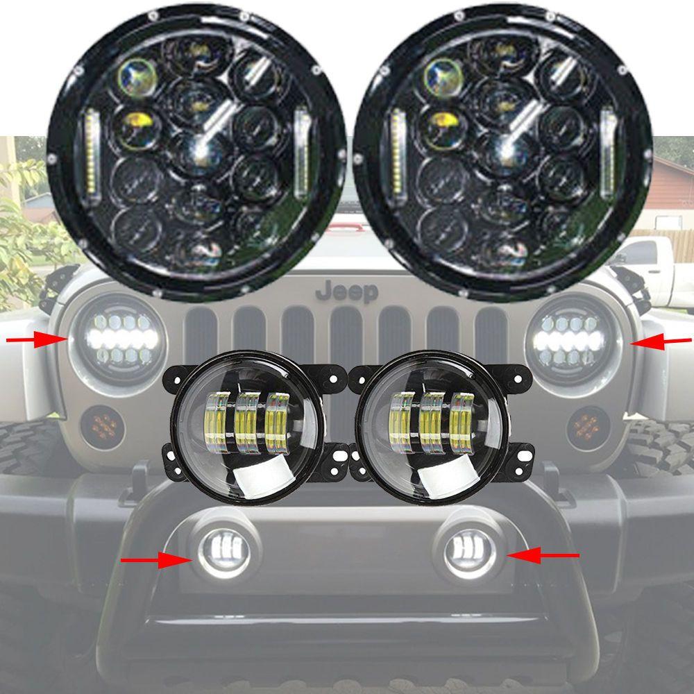 2x 7 Inch Led Headlight 4 Inch Cree Fog Light For Jeep Wrangler
