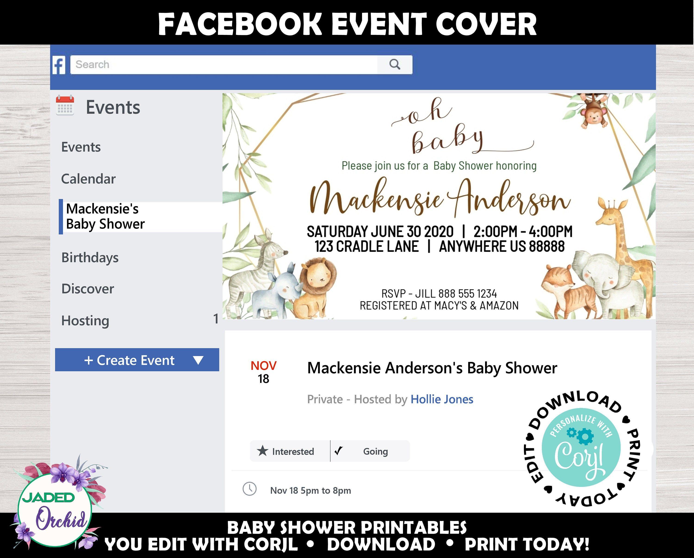 Facebook Safari Baby Shower Event Cover Jungle Baby Shower Etsy In 2020 Baby Shower Event Safari Baby Shower Baby Shower Facebook