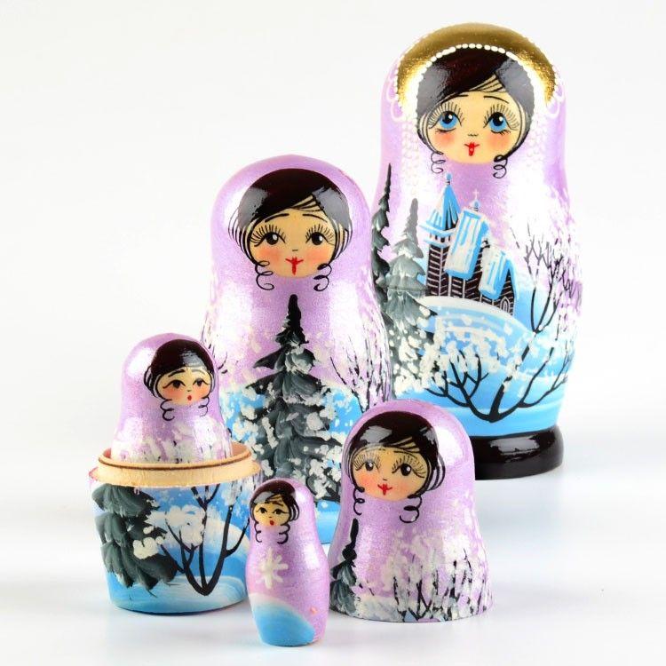 Lavender Winter Nested Doll