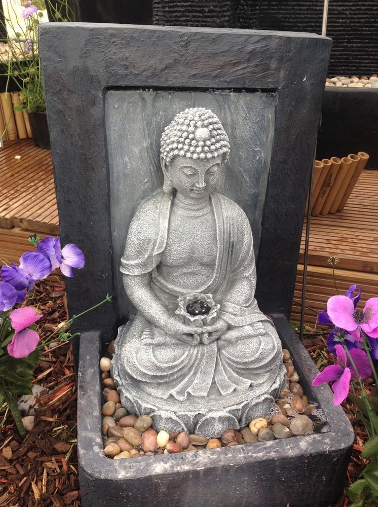 Garden Resin Fountain Buddha Patio Outdoor Water Yard Decor Sculptural Led Light Zen Garden Buddha Yard Decor