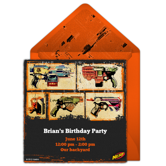 A Great Free NERF Birthday Party Invitation Featuring Blasters Design We Love This For Inviting Friends To High Energy
