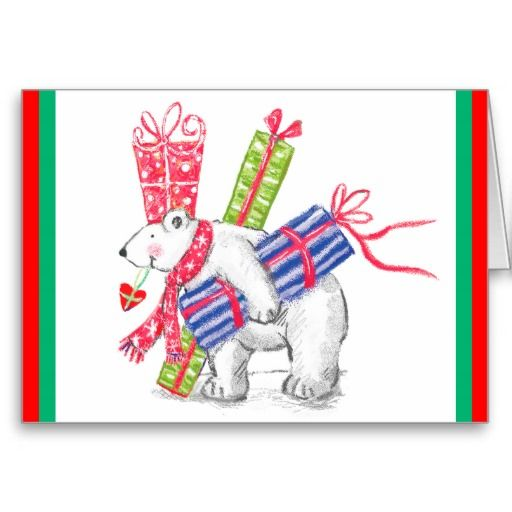 Retro Polar Bearing Gifts Christmas Cards by Sand Creek Ventures