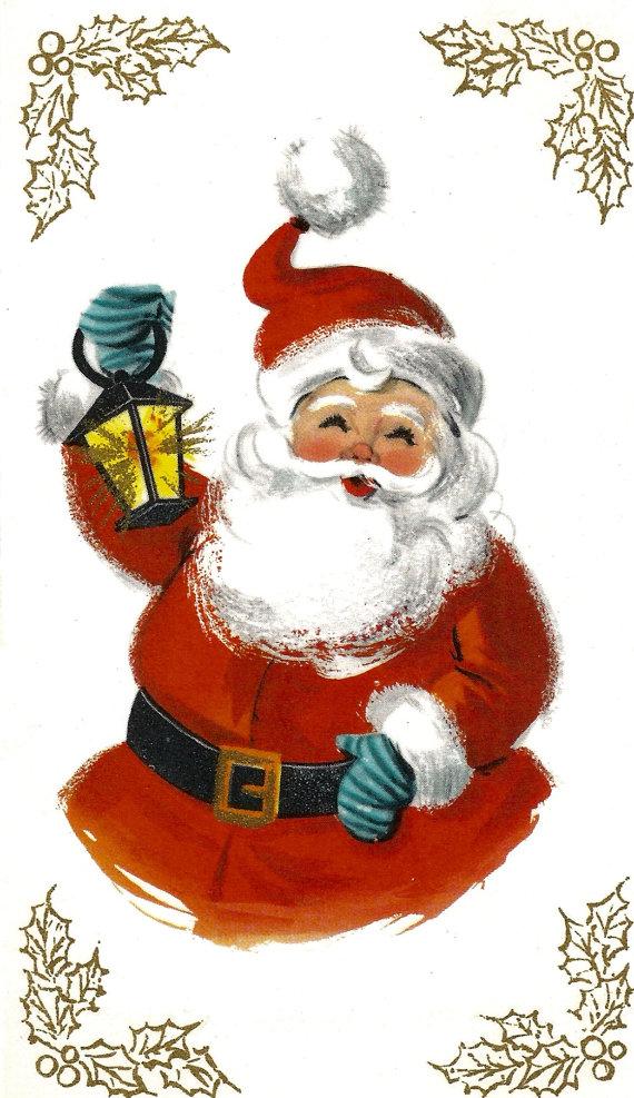Vintage retro Santa Claus Christmas card lantern digital download ...