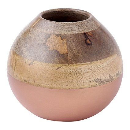 Hallmark Home Mango Wood Decorative BowlVase With Copper Accent Amazing Cheap Decorative Vases And Bowls