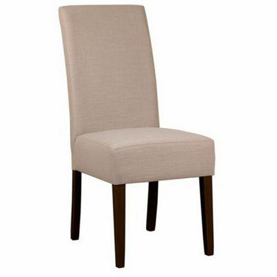 Debenhams Pair Of Beige Fabric Parsons Dining Chairs With Dark Wood Legs