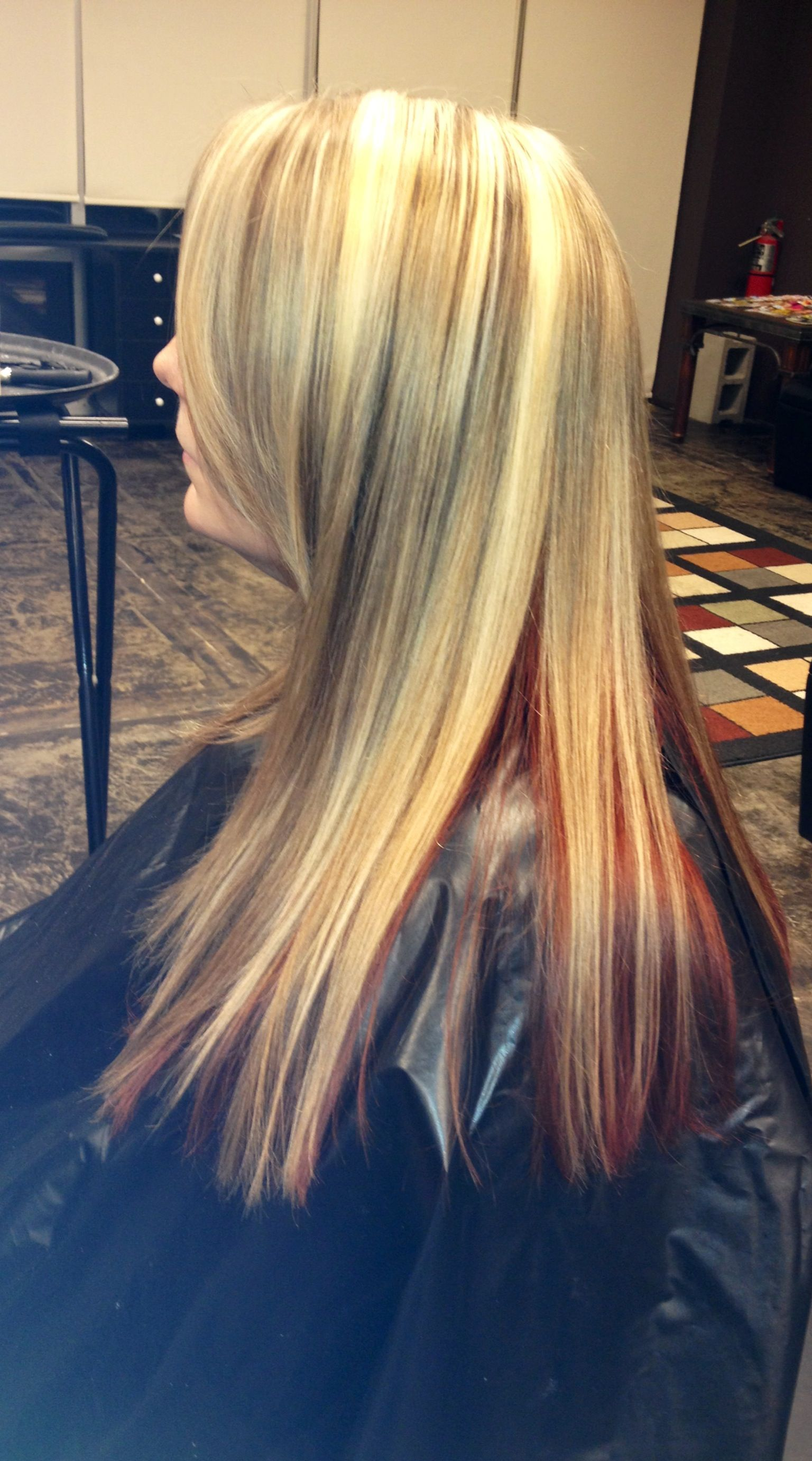 Blonde Highlights/dark blonde low lights with bright red ...