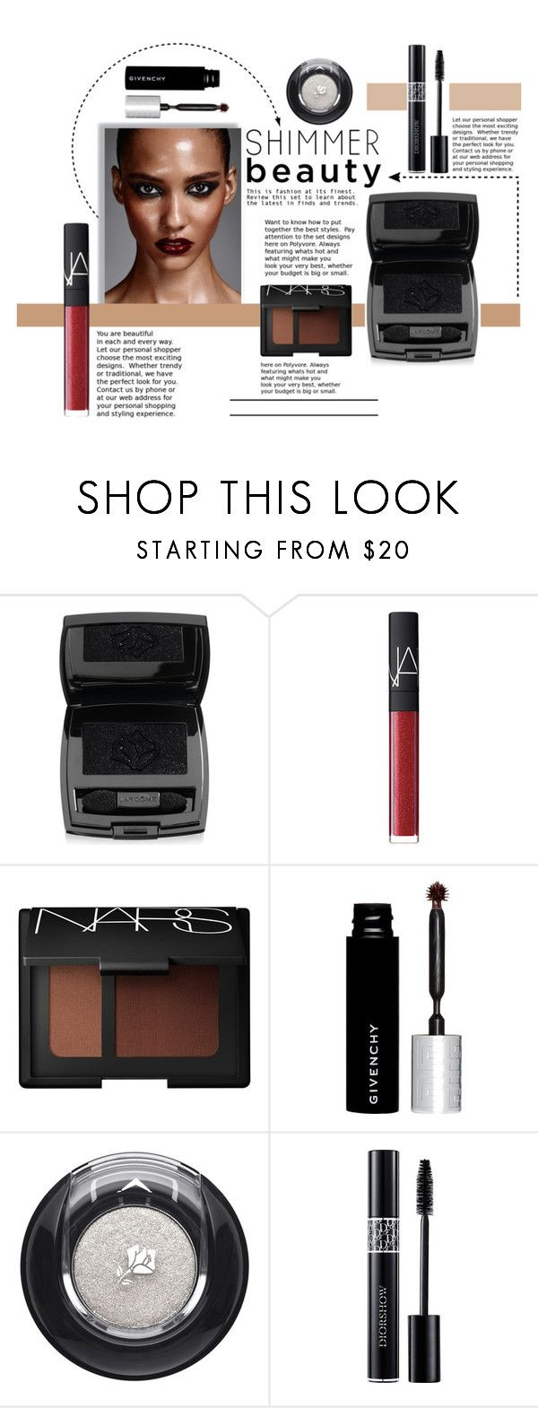 """Lady in Shimmer!"" by theodosia-kastanara ❤ liked on Polyvore featuring beauty, Lancôme, NARS Cosmetics, Givenchy and Christian Dior"