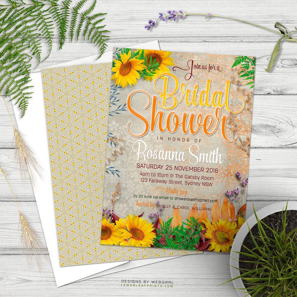 Unique and pretty vintage sunflower bridal shower invitations. A ...