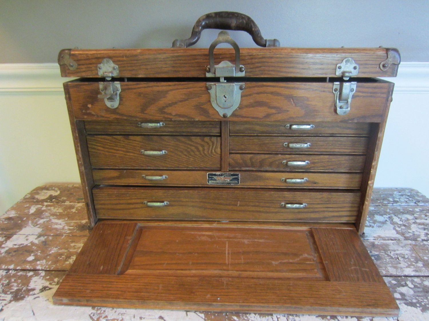 Antique Machinist Chest WWII Tackle Box Jewelry Box Union Machinist