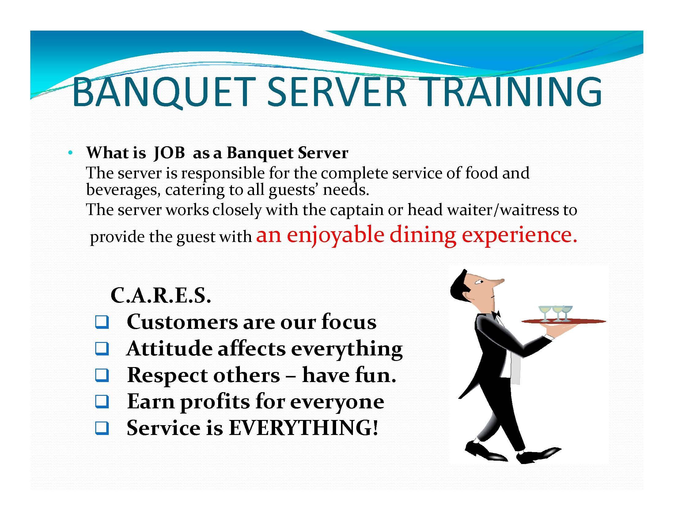 Page   Banquet Server Training  BanquetCatering Menus  Setups