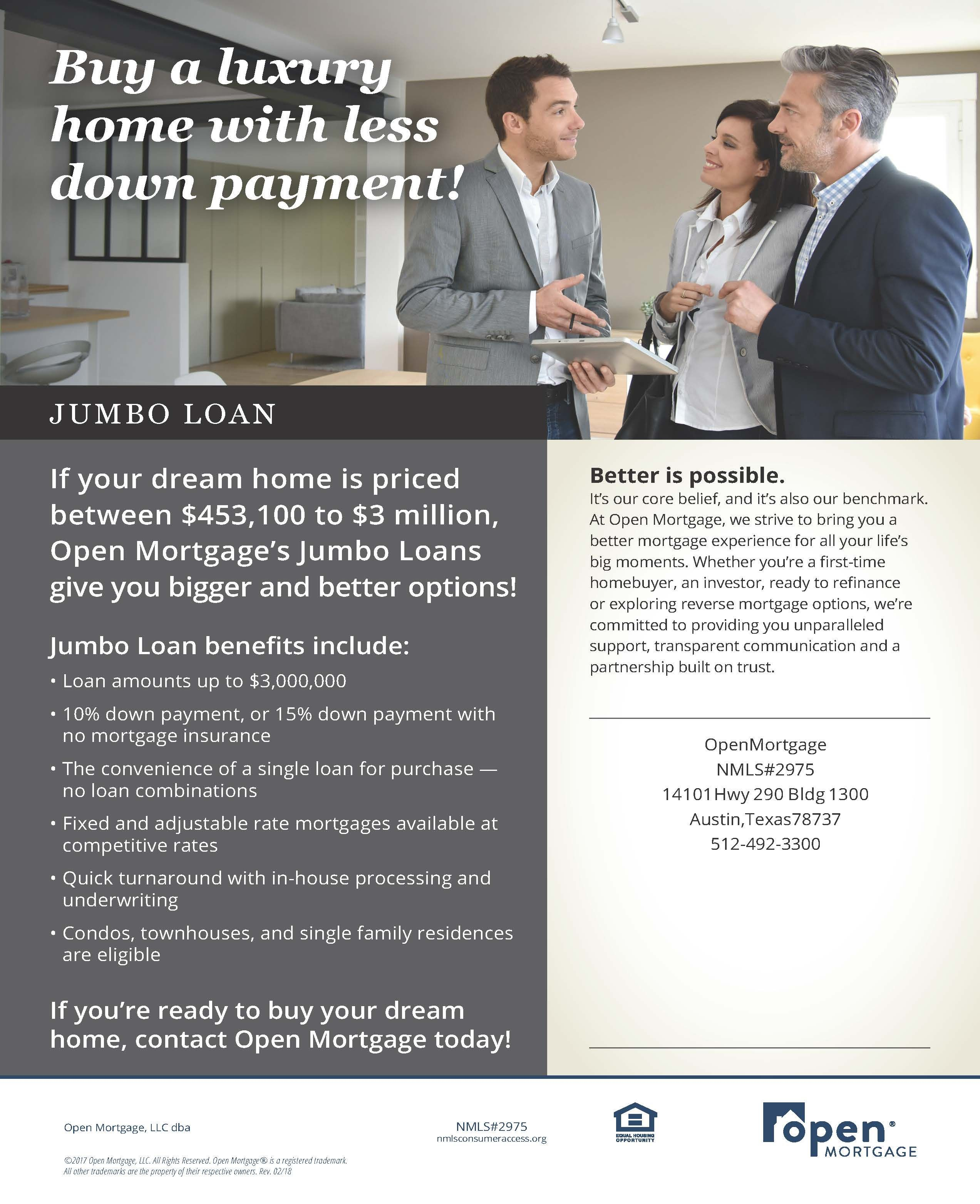 No Price Should Be Too Big For Your Dream Home Thanks To Jumbo Loans Visit Openmortgage Com Today To Learn The Benefits Of Th With Images Jumbo Loans Dreaming Of You Loan