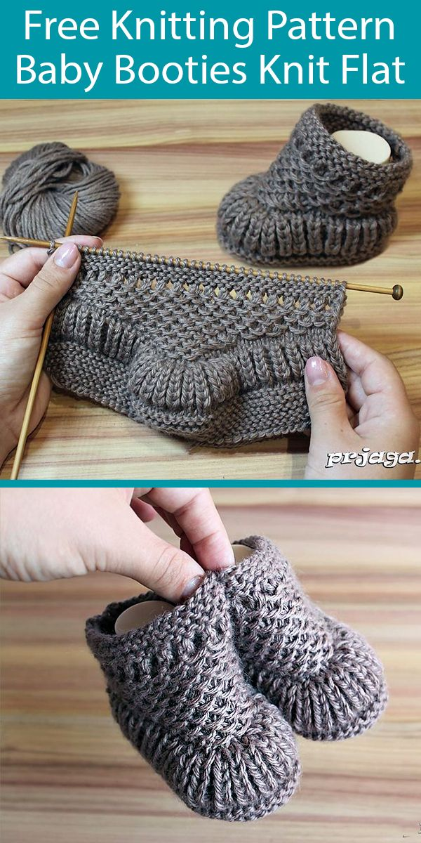 Free Knitting Pattern for Baby Booties Knit Flat in One Skein