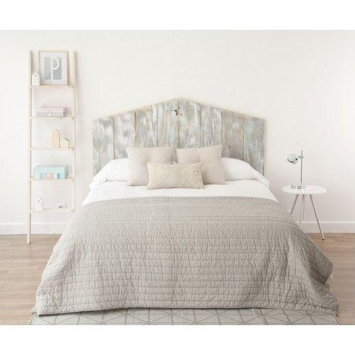 Un original cabecero de madera natural de abeto pintado a - Cabecero cama original ...