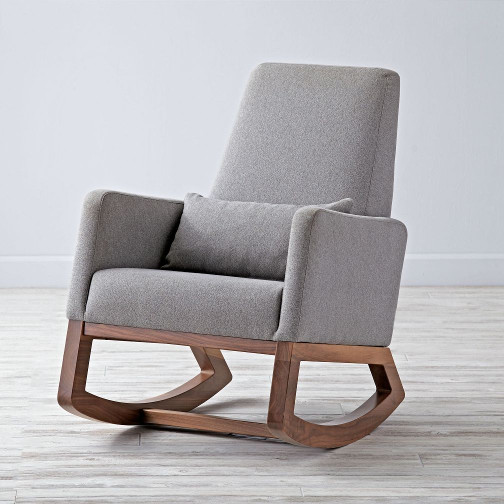 Shop Joya Rocker Grey Rocking Chair. Deep and comfy our Joya Grey Rocking Chair gently rocks back and forth on solid walnut legs. A Monte design available ... & Joya Rocking Chair | Rocking chairs Rockers and Nursery inspiration