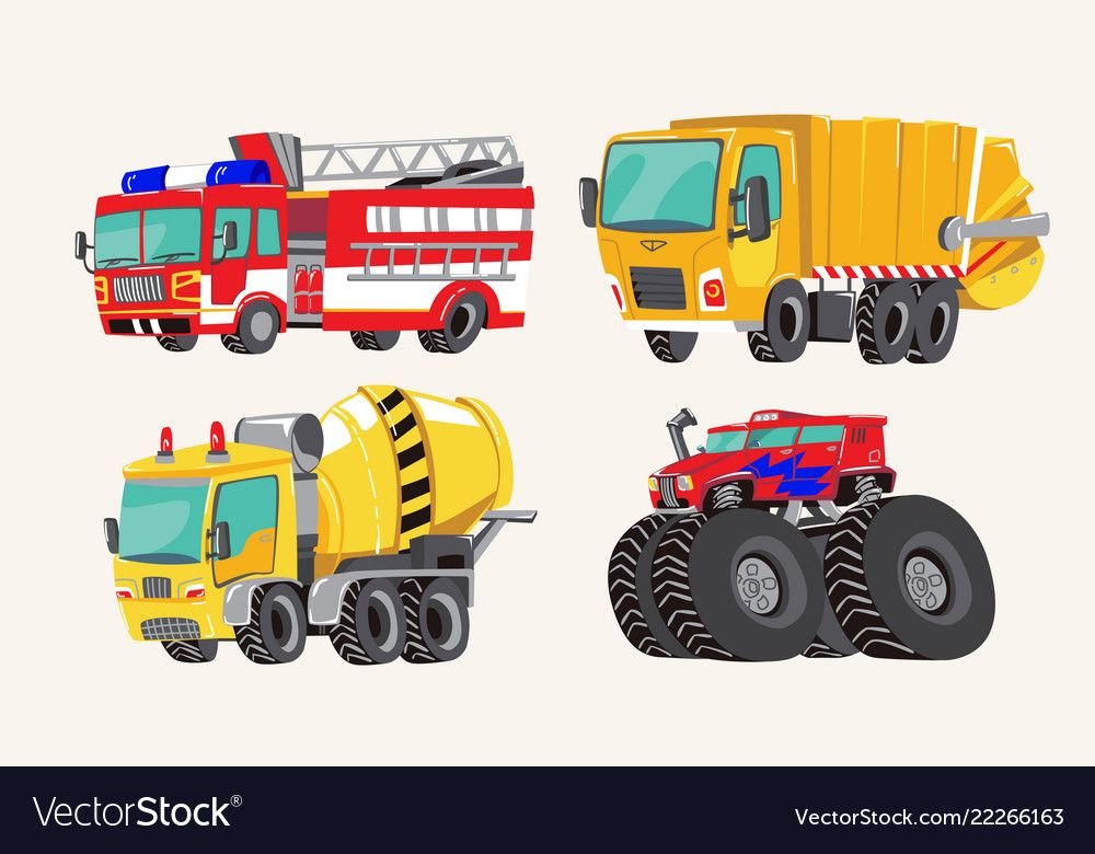 Funny Cute Hand Drawn Cartoon Vehicles Bright Vector Image On