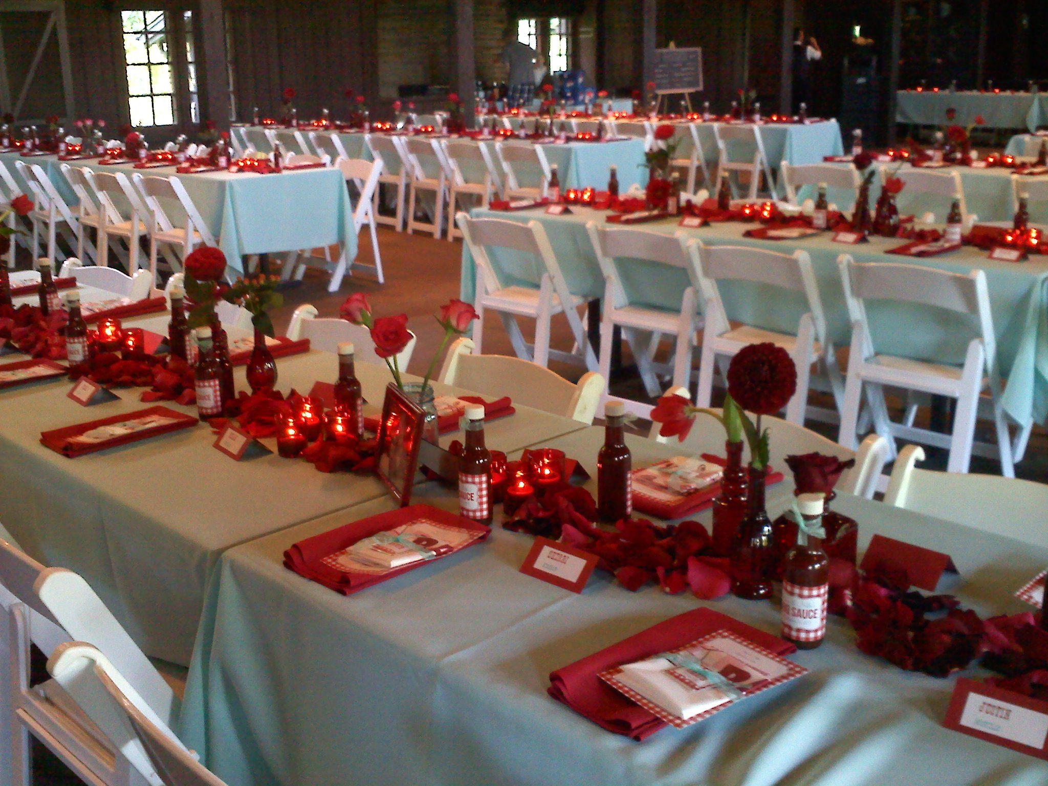 Red and aqua table decor with Ole Carolina BBQ at Happy Days Lodge,  Peninsula Ohio