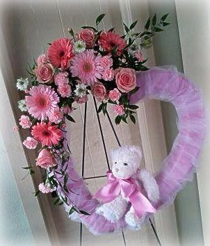 Pink Teddy Bear Heart Wreath