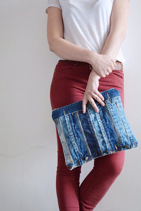 Gran bolsa de mezclilla con cierre de cremallera / / denim