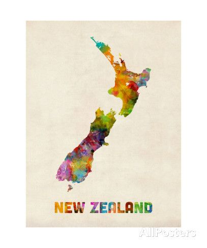New zealand watercolor map new zealand watercolor map prints by michael tompsett at allposters au gumiabroncs Image collections