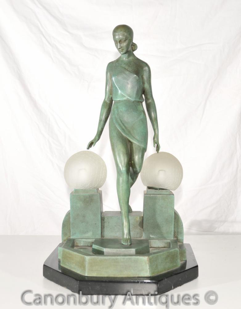 Original Art Deco Bronze Figurine Lamp Signed Fayral Antique