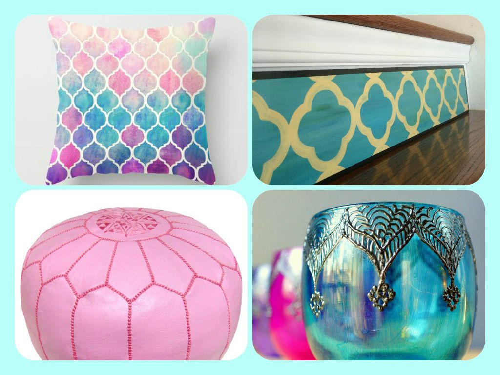 """Stair Design Ideas! If you're not afraid of bold, full-of-life style, the Moroccan collection is for you! Clockwise from top right: """"4 Petal Moroccan AQUA Plaque"""" by Tribute Designs on Etsy http://www.tributedesigns.etsy.com; """"Moroccan Wedding Votive Holder with Peacock Blue Glass and Gunmetal Accents"""" by LITdecor on Etsy; Kenza Moroccan Pouf, Pink, http://www.luluandgeorgia.com; Rainbow Pastel Watercolor Moroccan Pattern by Micklyn, http://www.society6.com #etsy #interiordesign #homedecor"""