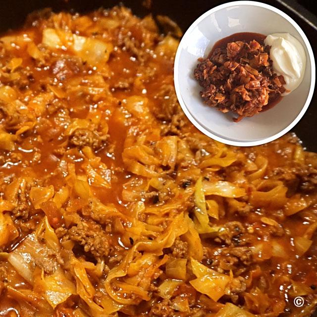 Kapuska -tuerkische Kohlpfanne mit Hackfleisch  200 Kalorien