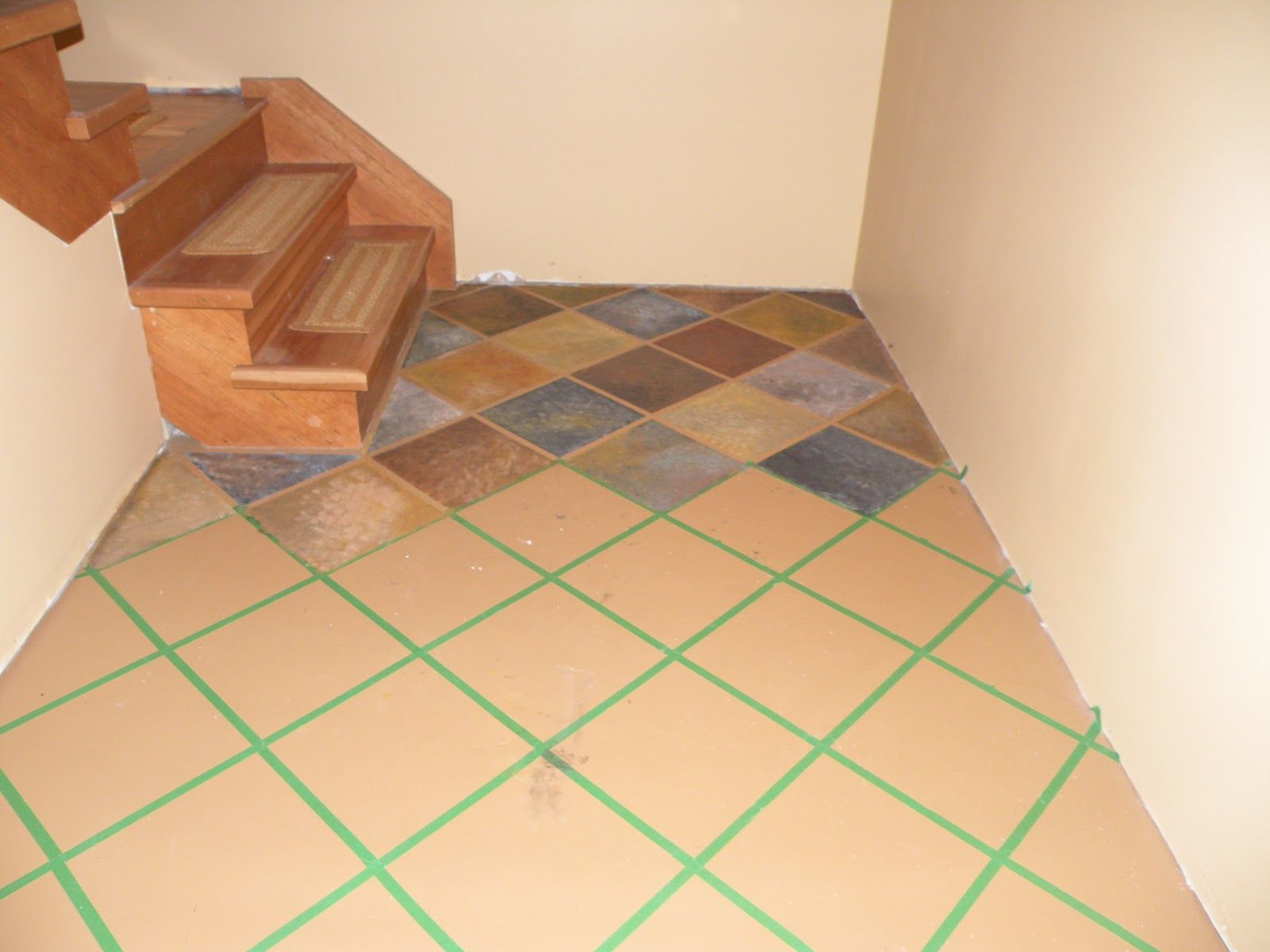 Painting Floor Tiles In Kitchen Paint Tile Base Coat Of Concrete Floor Paint Then 12 Tiles