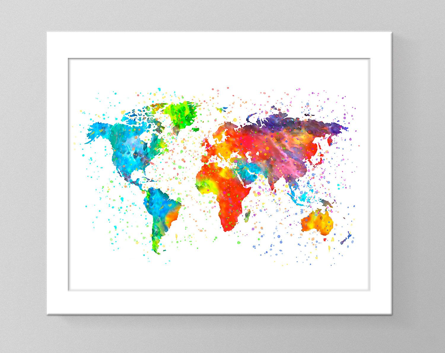 World map watercolor printable art living room decor nursery world map watercolor printable art living room decor nursery decor kids room sciox Image collections