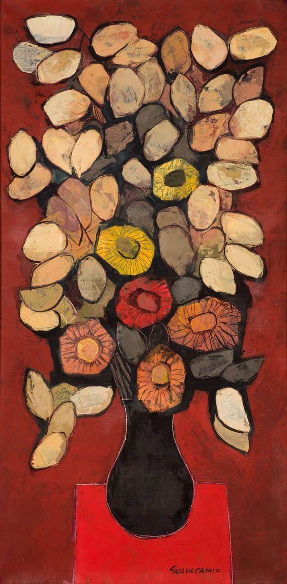 Jarron con flores by Oswaldo Guayasamin
