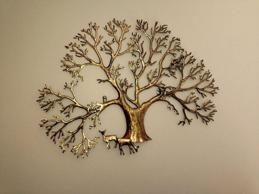 LARGE BIJAN TREE BRASS WALL SCULPTURE C. JERE Style Mid